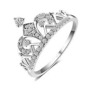 18k white gold pave CZ crown tiara ring